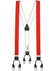 Bretelles de haute qualité avec 6 clips - Xeira® - Motif de Cuir - Fabriqué en Allemagne