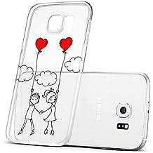 OOH! COLOR® Design Case OVA053 - pareja enamorada Elástico Transparentne funda protección silicona TPU para SAMSUNG GALAXY S6 con dibujos de San Valentín