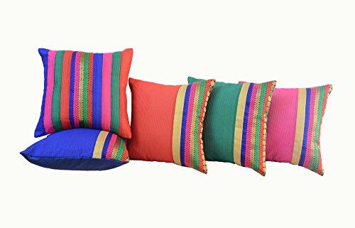 meSleep Brocade 5 Piece Satin Cushion Cover Set - 16