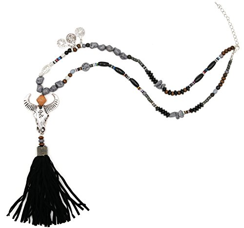 Bommel Kostüm Kopf (Statement Kette lang Stier Büffel Kopf Quaste Trotteln Anhänger Holzperlen Steine Hippie Halskette Modeschmuck Necklace Collier (8422) (Quaste)