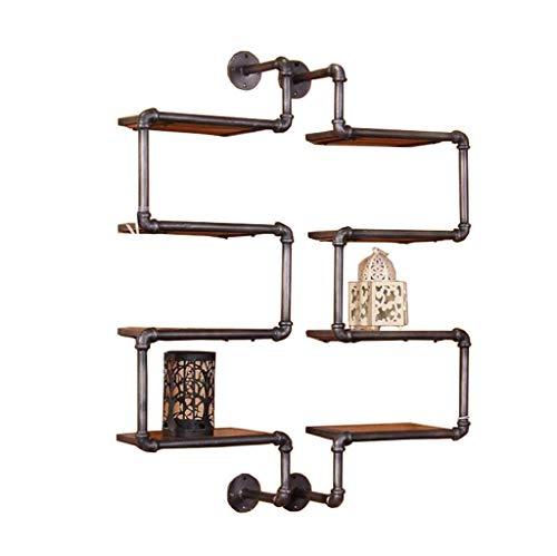 Z-BG 4 Tiers Floating Shelves - Water Pipe Dekoratives Wandregal mit Eckrahmen Clapboard-Aufbewahrungsständer im Retro-Stil mit Eisen- und Holzablage-Display Bücherregal-Einzelregalgröße - 4-tier-rack-einheiten