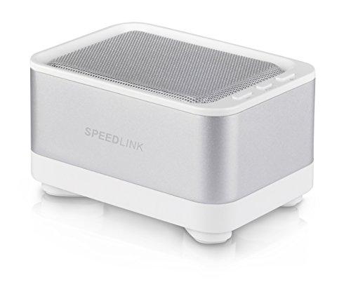 Speedlink Geovis Aktiver kabelloser Bluetooth v3.0-Lautsprecher (2 Watt RMS, 5 Std Akkulaufzeit, silberner Aluminiummantel, Freisprechfunktion)