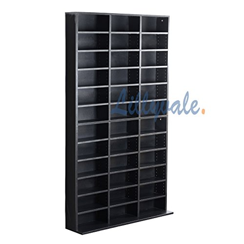 1116 CD/528 DVD Storage Shelf Rack Unit Adjustable Book Bluray Video Games(Black)