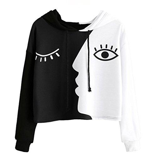 Anglewolf_Sweatshirt Anglewolf New Designer Black&White Faces Printed Short Sweatshirt Hoodies Women Ladies Fashion Casual Crop Sweatshirt Hooded Long Sleeve Patchwork Pullover Shirts Tops