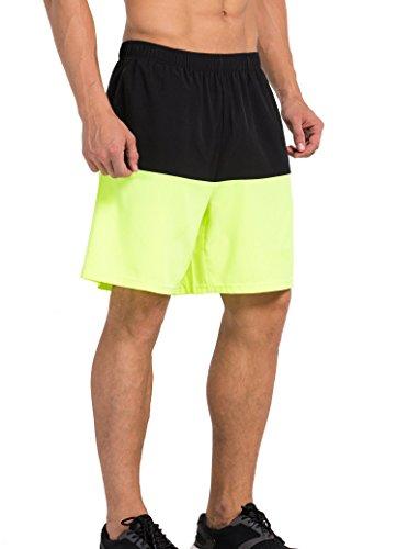 Vansydical Shorts compressione coperta all'aperto Sport uomo allenamento palestra pallacanestro pantaloni Casual in tessuto sciolto pantaloni medi (L)