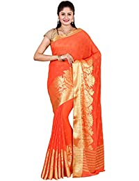 Classicate From The House Of The Chennai Silks - Embroidered Georgette Saree - Orange - (CCMYFA5386)
