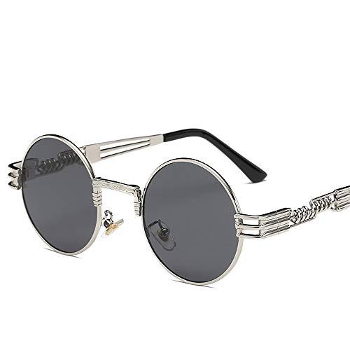 ZUEN Trendige Sonnenbrillen Round Punk Sonnenbrillen Metal Men ' S und Women ' S UV-Schutz Sonnenbrillen,J