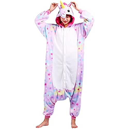 unicornios kawaii Pijama Estrellas Unicornio, Onesie Modelo Animal Cosplay para Adulto entre 1,40 y 1,87 m Kugurumi Unisex