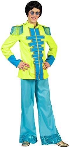 ergeant Pepper Kostüm Herren Beatles Jacke neon grün blau Popstar Karneval Herren-Kostüm Größe 52/54 (Kinder-beatles-kostüme)