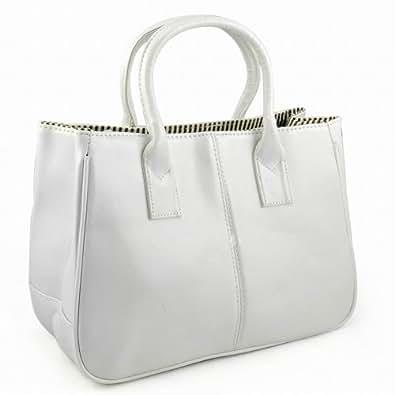 tinkertonk Woman Celebrity Vintage Ladies PU Leather Satchels Tote Purse Bag Handbag (White)