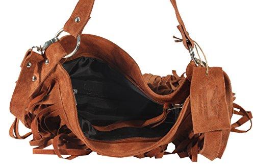 Campello Premium - große Fransen Schultertasche Handtaschen UsedLook StoneWashed Wildleder Rindleder Gypset-Look Henkeltaschen Shopper 36x33x10 cm (B x H x T), Farbe:grau camel