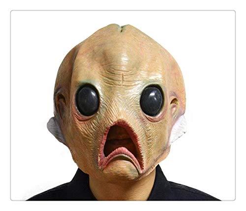 ske aus Latex für Babyköpfe, Fische, Alien, große Augen, ohne Haare für Erwachsene, Halloween-Kostüm, Party-Requisiten ()