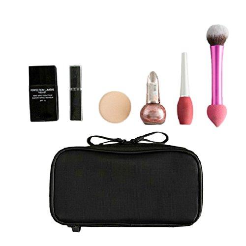 Tragbare Multifunktionale Kosmetiktasche von Höher Quilität, Schminktasche für Reise und zu Hause (Schwarz)