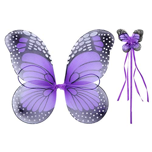 Fenical Schöne Engel Schmetterling Elf Flügel Wunderkerzen Glitter Fairy Cosplay Kostüm Set Halloween Kostüm für Kinder Mädchen (Flügel und Fairy Stick) (Halloween-kostüm Für Mädchen Angel)