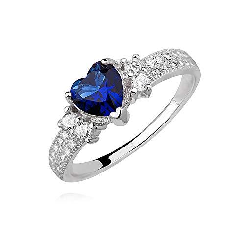 *Beforya Paris* - 925 Silber Ring *Freundschaft & Liebe* - Farben Sapphir - Swarovski Elements - 925 Sterling Silber Damen Ring Größe Varianten (62 (19.7))
