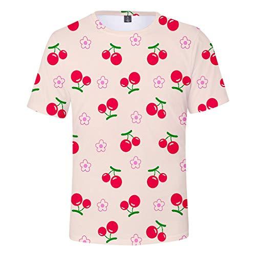 en T-Shirt Frühling Sommer Mode Obst Kirsche Unisex 3D-Druck kreative Rundhals lässig kurzes Hemd Top Lässiges Weste Vest T-Shirts Top Tanktop Bluse Tee t Shirts ()