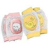 mreechan Baby Knee Pads,Breathable Adjustable Elastic Unisex Infant Toddler Baby Kneepads Knee Elbow Pads Crawling Anti-Slip Safety Protector, Infants, Boys, Girls, Kids, 2 Pairs