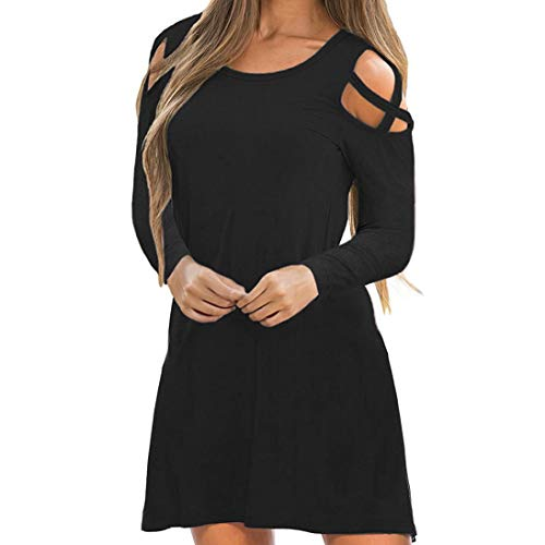 Robe Patineuse Fluide Femme Casual,Overdose Automne Hiver Robes Manches Longues Courte Sexy Solde Loose Mini Dress (44, Noir)