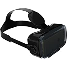 VR-SHARK® X4 Lite - Virtual Reality Gear / Headset / VR-Glasses with Touch Button for all 4.7 - 6.2 inch Smartphones | Google Cardboard compatible with Samsung / Xperia / Sony / LG / Moto / HTC / Huawei / OnePlus / ZTE / Honor / BQ / Alcatel / Gigaset / Asus | 3 years warranty [FOV 120° | PD + FD | black]