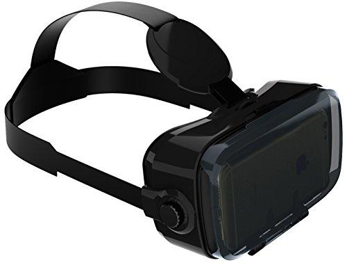 VR-SHARK® X4 Lite - Virtual Reality Gear für Smartphone \'s | VR Brille / VR Headset / Google Cardboard komp. mit Samsung / Xperia / LG / Moto / HTC / Huawei / OnePlus / ZTE / Honor / BQ / Alcatel / Gigaset / Asus | inkl. QR Codes & Touch-Steuerung [FOV 120° | PD + FD | schwarz-matt]