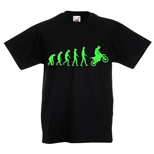 lepni.me Maglietta per Bambini/Ragazzi Evoluzione Motocross, Moto Sporca, Maglia da Moto, Abbigliamento da Corsa, Moto da Fuoristrada (7-8 Years Nero Verde)