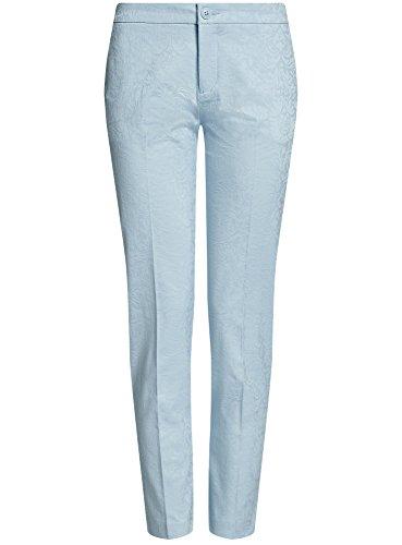 oodji Collection Damen Enge Jacquard-Hose Blau (7000N)
