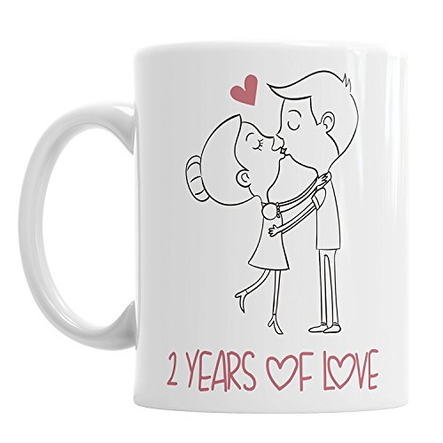 Gift Original Tasse mit Aufschrift 2 Years of Love Valentinstag, Freundin, Freund, Ehemann, Ehefrau, Jahrestag - Casa Kcups