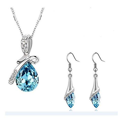 Parure goutte boucles d'oreilles crochet cristal swarovski elements plaqué or blanc Bleu turquoise
