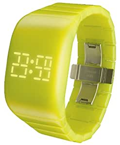 O.D.M. Illumi Unisex Watch with Yellow Dial Digital Display and Yellow Plastic Bracelet DD133-07