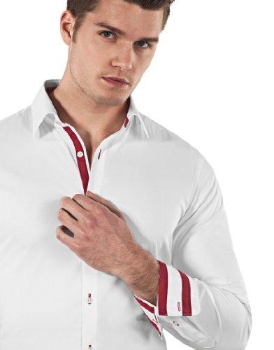 Vincenzo Boretti Herren-Hemd Body-Fit (Besonders Slim-Fit Tailliert) Uni-Farben Bügelleicht - Männer Lang-Arm Hemden für Anzug mit Krawatte Business Hochzeit Freizeit Weiß/Weinrot