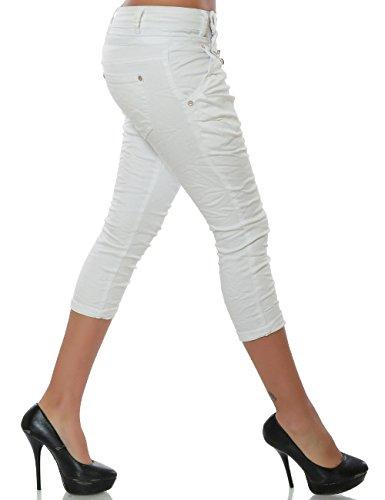 Damen Boyfriend Bermuda Capri-Jeans 7/8 Haremshose Baggy kurze Hose Reißverschluss Knopfleiste No 15633 Weiß