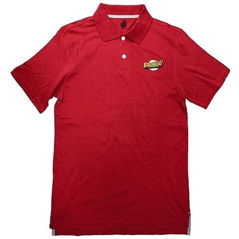 Big Bang Theory Bazinga Red Adult Polo Shirt Large