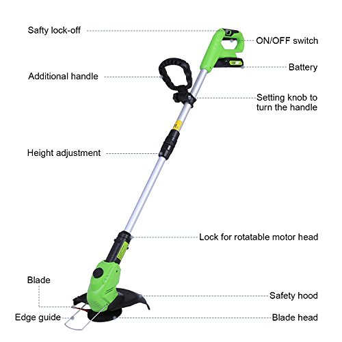 COOCHEER Cordless Strimmer Telescopic Lightweight Frame Grass Trimmer with Adjustable Angle Head & 18V Battery
