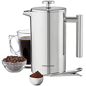 Andrew James Stainless Steel Cafetiere Gift Set, 6 Cup Cafetiere, Double Walled for Insulation, Includes Measuring Spoon and Bag Sealing Clip