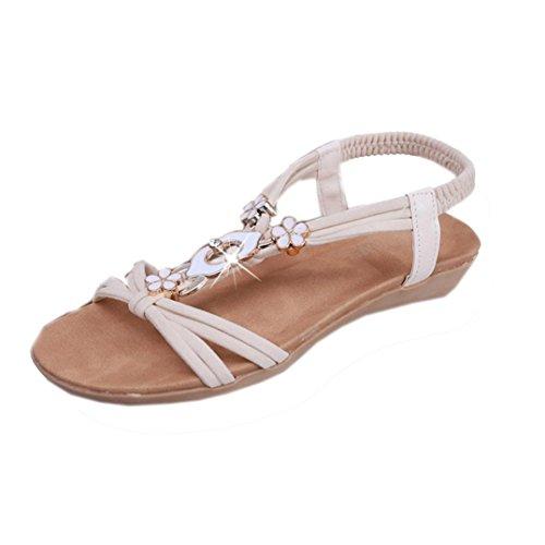Saingace Frauen Perlenböhmen Freizeit Peep-Toe Outdoor Sandalen flache Schuhe Beige