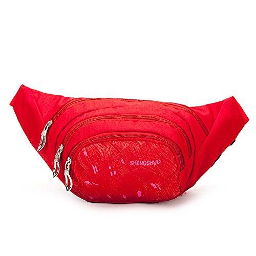 Wewod Herren Nylon Outdoor-Sport Belt Pouch Multi-Tasche Frauen Freizeit Bauchtasche Rot