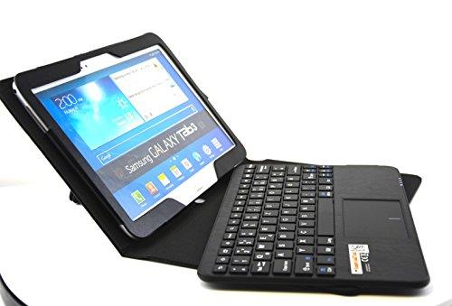 SonnyGoldTech - Galaxy Tab 3 10.1 Tasche mit Bluetooth Tastatur und integriertem Touchpad | Bluetooth Tastatur Hülle mit Touchpad für Samsung Galaxy Tab 3 10.1 GT-P5200, Samsung Galaxy Tab 3 10.1 WiFi GT-P5210, Samsung Galaxy Tab 3 10.1 LTE GT-P5220 | Schutzhülle mit Bluetooth Tastatur, Layout: Deutsch | Schwarz