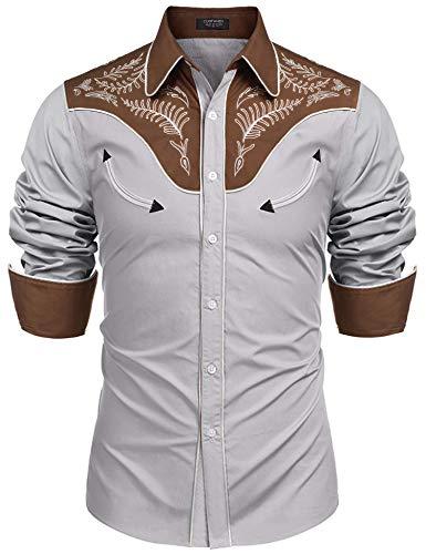Coofandy Herren westernhemden Langarm Slim fit gestickte beiläufige Baumwolle Hemd klein 1-grau -