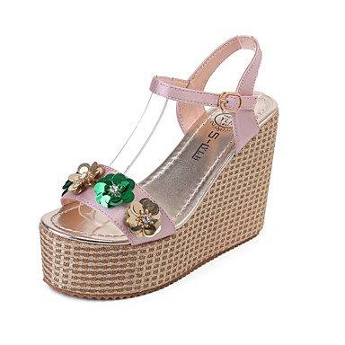 Les talons des femmes Printemps Été Chaussures Club Glitter Mariage & robe de soirée Sequin plate-forme occasionnels Buckle Blushing Pink