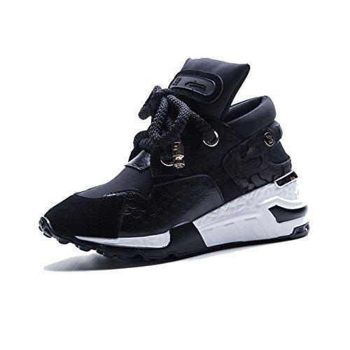 Suola Spessa Piattaforma Donna WSXY-A1803 Creativo Sneakers Fitness Interior all'Aperto,KJJDE nero