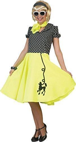 Damen 1950er Rock And Roll Top Fancy Gepunktet Pudel Kleid Party Outfit - Schwarz & Gelb, 38-42