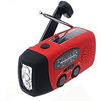 Ecloud Shop® Emergencia Solar Manivela Auto alimentado AM / FM / NOAA Radio Meteorológica, 50 lumen LED Linterna y 1000mAh Smart Phone Cargador Banco Banco de energía