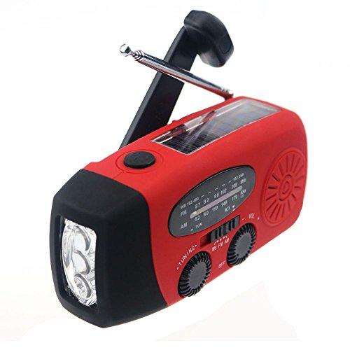 Ecloud Shop® Emergency Solar Hand Kurbel Self Powered AM / FM / NOAA Wetter Radio, 50 Lumen LED Taschenlampe und 1000mAh Smart Phone Ladegerät Power Bank Red (Kurbel-powered Radio)