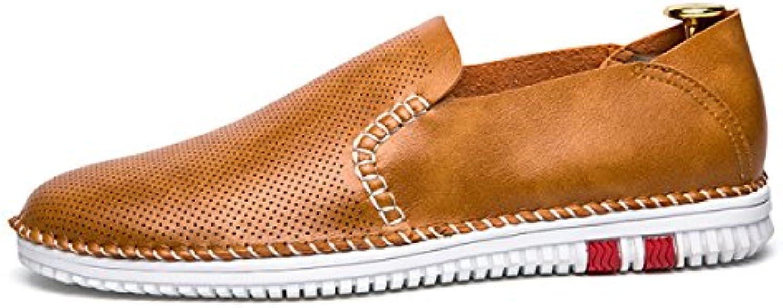 FZHLY Zapatos Planos Huecos Respirables De Los Zapatos Ocasionales De Oxford De Los Hombres,Brown-43