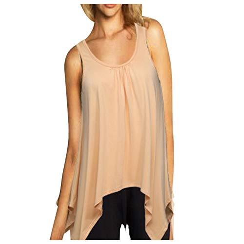 Muyise Damen Tops Weste Plus Size ärmellos U-Ausschnitt lässig lose einfarbig unregelmäßiger Saum Leibchen Vest Unterhemd Bluse Oberteile(Khaki,XXL)