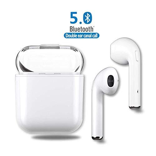 DAYANNIU Auricolari Bluetooth V5.0 Versione, con Microfono Integrato e Base di Ricarica, Effetto Audio Stereo con Cancellazione del Rumore Compatibili con Dispositivi Apple e Android