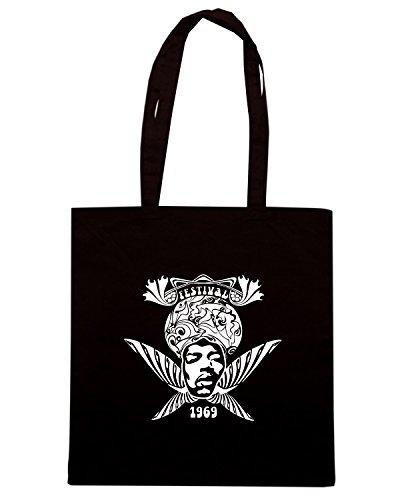 T-Shirtshock - Borsa Shopping T0270 WOODSTOCK FESTIVAL politica Nero