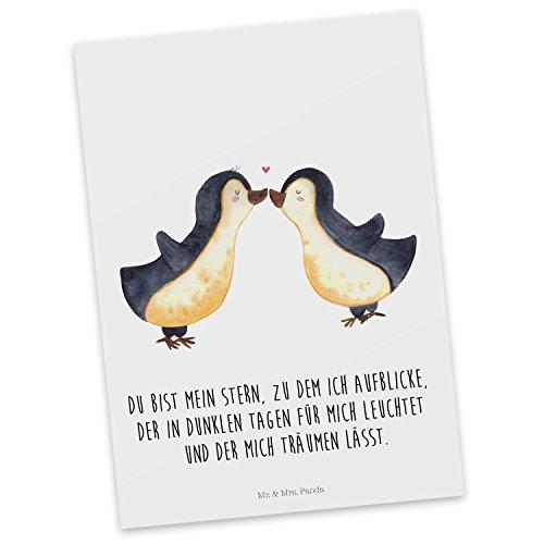 Mr. & Mrs. Panda Geschenkkarte, Karte, Postkarte Pinguin Liebe mit Spruch - Farbe Weiß
