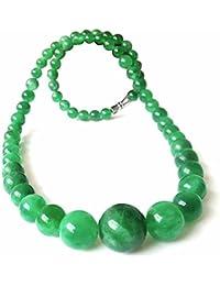 Collare perlas Joya piedra natural Jade Mujer Verde Bora
