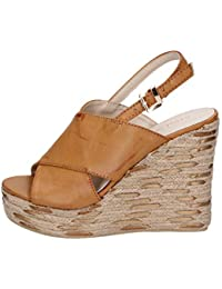 5bec50b90e0 SARA LOPEZ Heeled-Sandals Womens Leather Brown